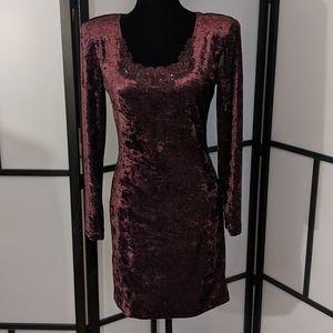 Plum/Maroon Crushed Velvet Vintage Bodycon Dress
